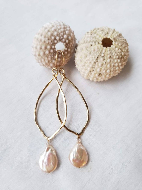 14k Gold-filled earrings with freshwater coin pearls