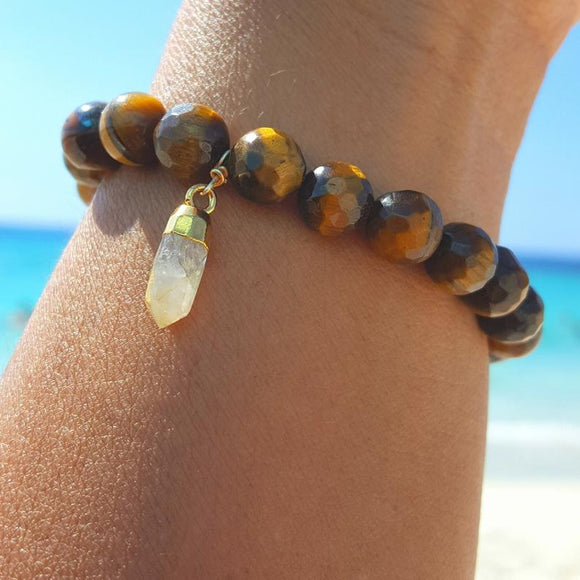 Tiger's Eye stretch beaded bracelet with rutilated crystal quartz