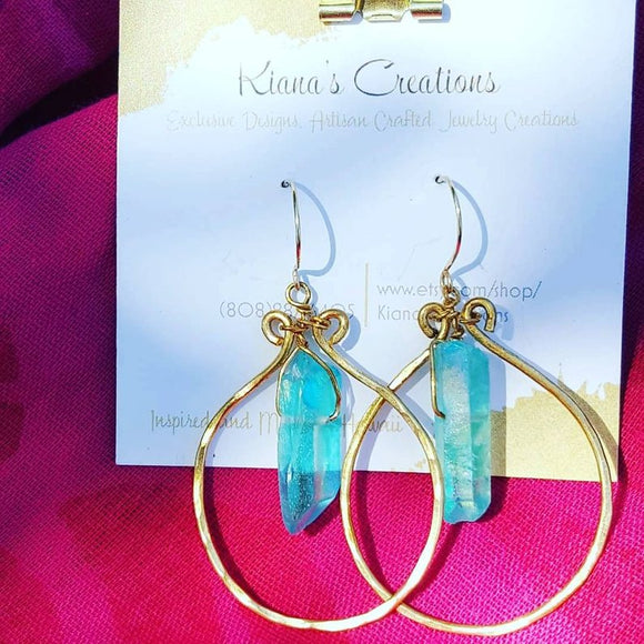 Aqua Aura Quartz Crystals on Handcrafted Hoops