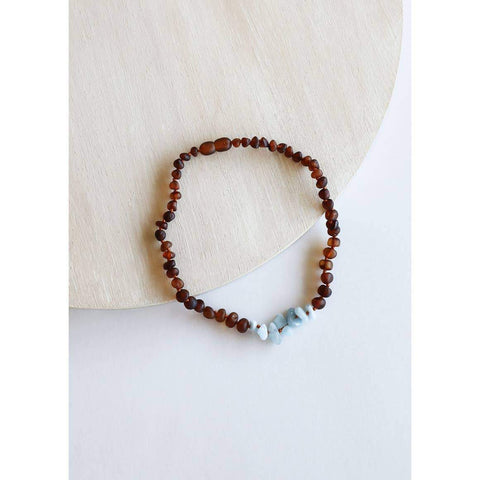 Canyon Leaf - Raw Cognac Amber + Amazonite Necklace | KIDS - Wayfaring Baby