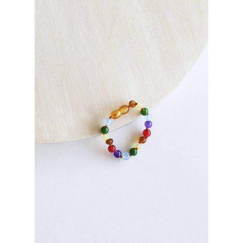 Canyon Leaf - Raw Amber + Gemstone Rainbow Anklet/Bracelet | KIDS - Wayfaring Baby