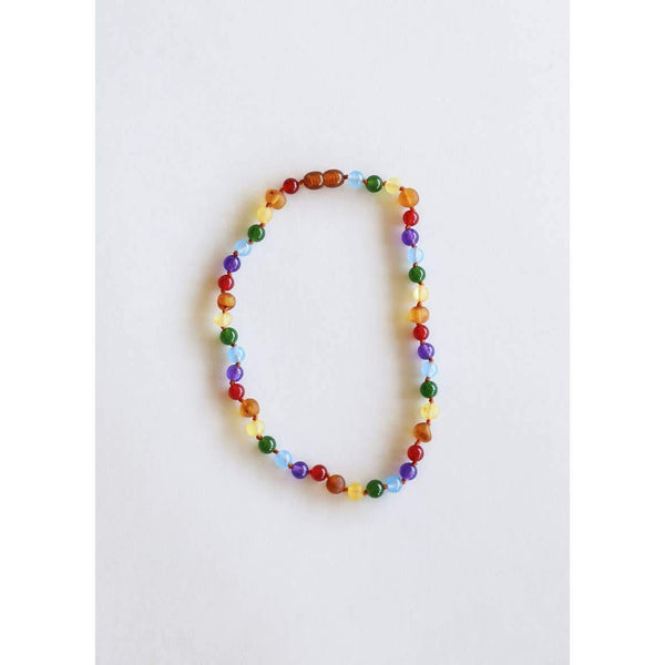 Canyon Leaf - Raw Amber + Gemstone Rainbow Necklace | KIDS - Wayfaring Baby
