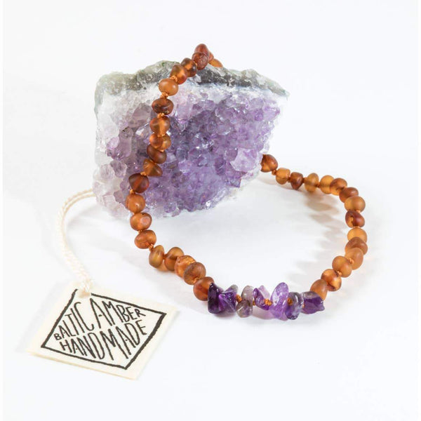 ADULT | Canyon Leaf - Raw Baltic Amber + Raw Amethyst Necklace - Wayfaring Baby