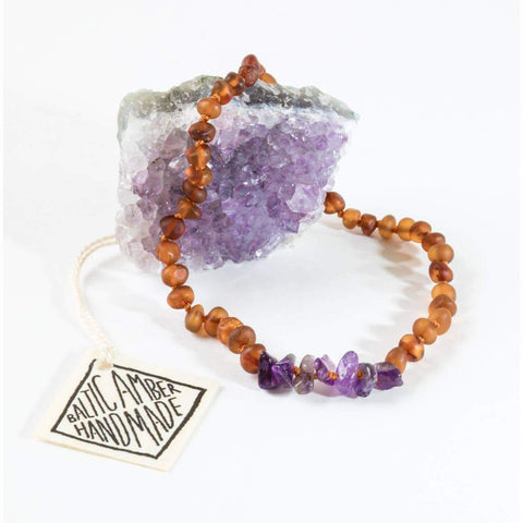 Canyon Leaf - Raw Baltic Amber + Raw Amethyst Necklace | KIDS - Wayfaring Baby