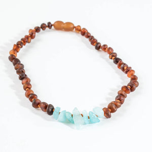 CanyonLeaf Raw Cognac Amber + Amazonite Necklace - Wayfaring Baby