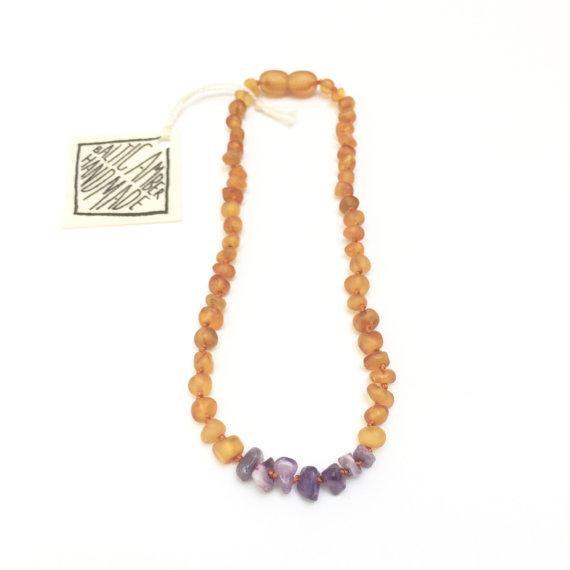 Canyon Leaf Raw Baltic Amber + Raw Amethyst Necklace - Wayfaring Baby