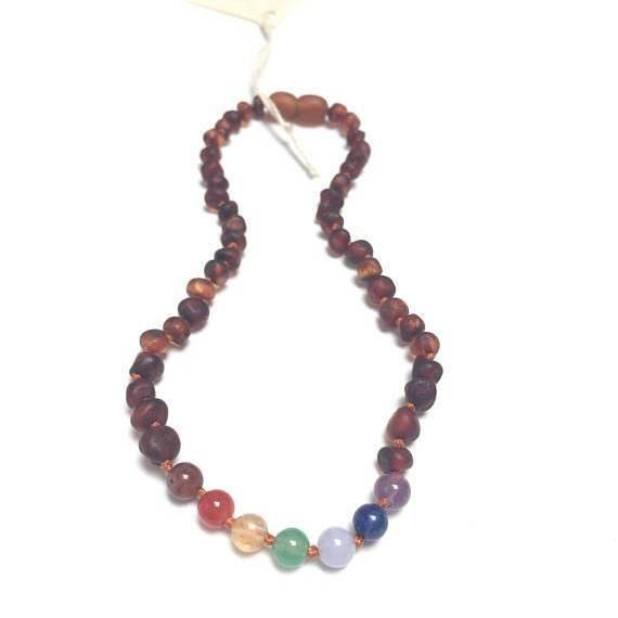 Canyon Leaf Raw Cognac Amber + Chakra Crystals Necklace - Wayfaring Baby