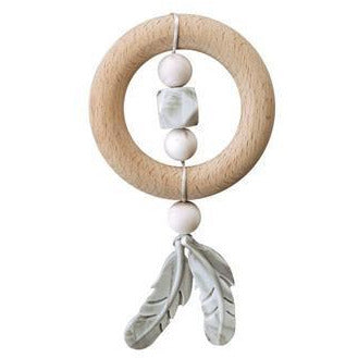 Chewable Charm Dreamcatcher Silicone + Wood Teether - Rose Quartz - Wayfaring Baby