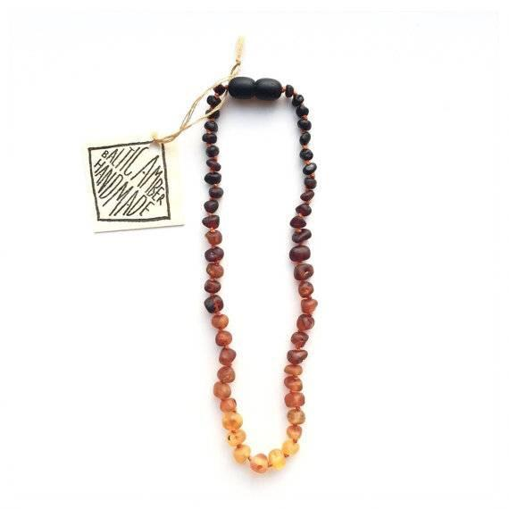 Canyon Leaf Raw Ombré Baltic Amber Necklace