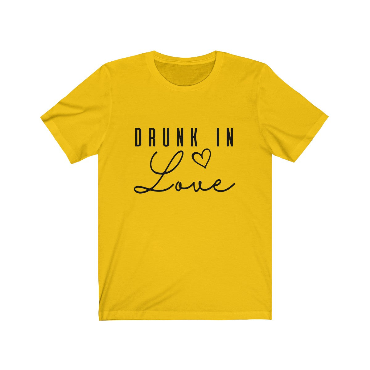 Tee drunk in love Black Print Short Sleeve - elrileygifts