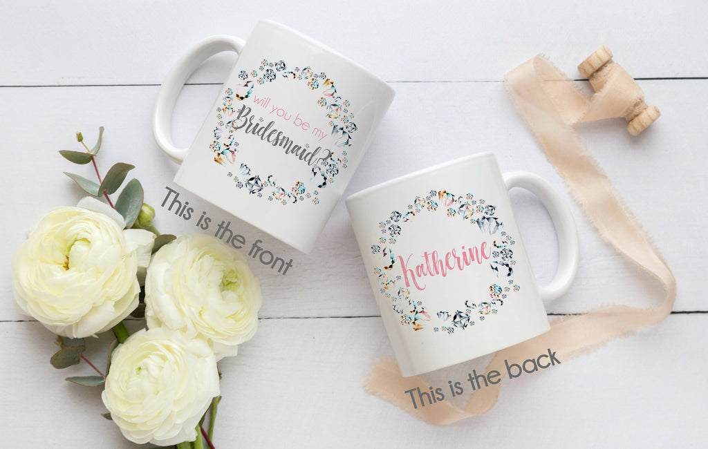 Will You Be My Bridesmaid Personalized Gift Mug, Maid of Honor Gift, Flower Girl Gift, Wedding Party Gift, Bridal Party Bling - elrileygifts