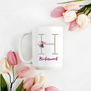 Bridesmaid Personalized Gift Coffee Mug, Maid of Honor Gift, Flower Girl Gift, Wedding Party Gift, Bridal Party Gift,  11oz or 15 oz - elrileygifts