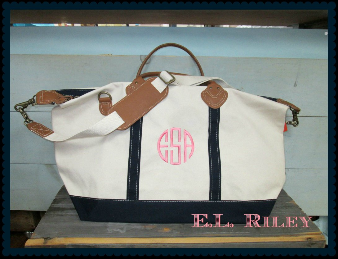 Monogram Duffle Bag, Canvas Weekender, Overnight Travel Bag, Weekender Travel Luggage, Personalized Groomsmen, Bridesmaid, Bride Gift Idea - elrileygifts