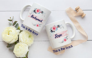 Bridal Party Floral Tea Cup, Bridesmaid Gift Coffee Cup, Wedding Mug, Maid of Honor Mug, Bridal Party Mug Set - elrileygifts
