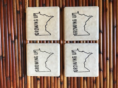 Growing up Minnesota Ceramic Coaster, Set of 4