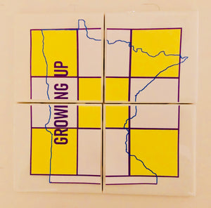 Growing up Minnesota tic-tac-toe Ceramic Coaster Set
