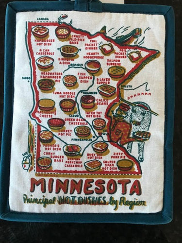 Minnesota Hot Pad, Minnesota Hot Dish Hot Pad, Hot Pad - Pocket , MN Hot Dish by Region, Minnesota Map