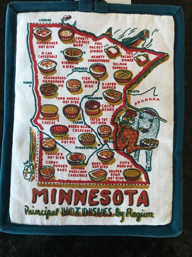 Minnesota Hot Pad, Minnesota Hot Dish Hot Pad, Minnesota State Pride, Pot Holder, Hot Pad - Pocket , MN Hot Dish by Region, Minnesota Map