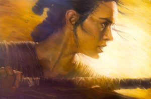 Star Wars: The Force Awakens - Rey by Christopher Clark; giclee limited edition art on canvas