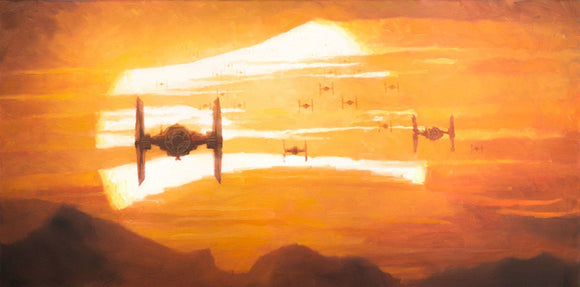 Star Wars The Force Awakens - Tie Fighter Sunset by Christopher Clark; giclee limited edition art on canvas