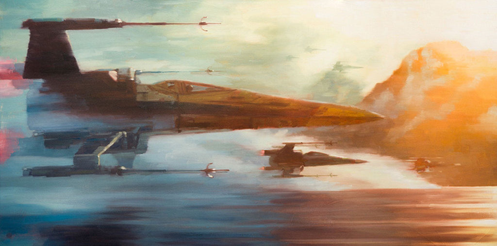 Star Wars The Force Awakens - X Wings of Resistance by Christopher Clark; giclee limited edition art on canvas