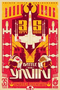 Star Wars - Battle of Yavin by Mark Daniels; silk screen limited edition art on paper