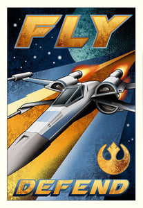 Star Wars - Fly and Defend by Mike Kungl; giclee limited edition art on canvas (small)