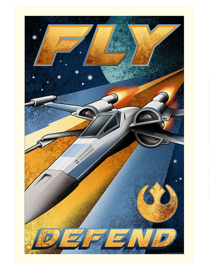 Star Wars - Fly and Defend by Mike Kungl; giclee limited edition art on paper
