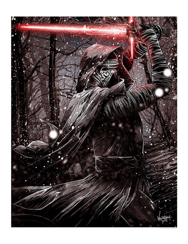 Star Wars The Force Awakens  - Kylo Ren by JP Valderrama; giclee limited edition art on paper