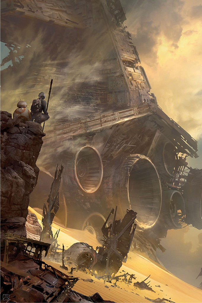 Star Wars The Force Awakens - Tie Fighter Down by Stephan Martiniere; giclee limited edition art on canvas