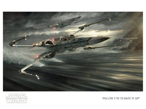 Star Wars The Force Awakens - Incom T-70 Tearin It Up by Jerry Vanderstelt; litograph edition art on paper