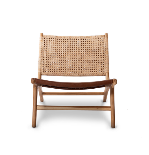Gemini Woven Chair- Tan Leather