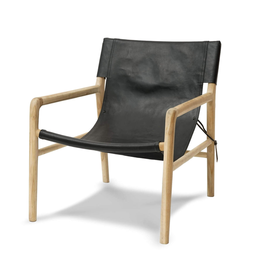Brooklyn Sling Back Chair-Black/Natural stain frame