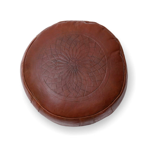 Medium Embossed Ottoman-Brown
