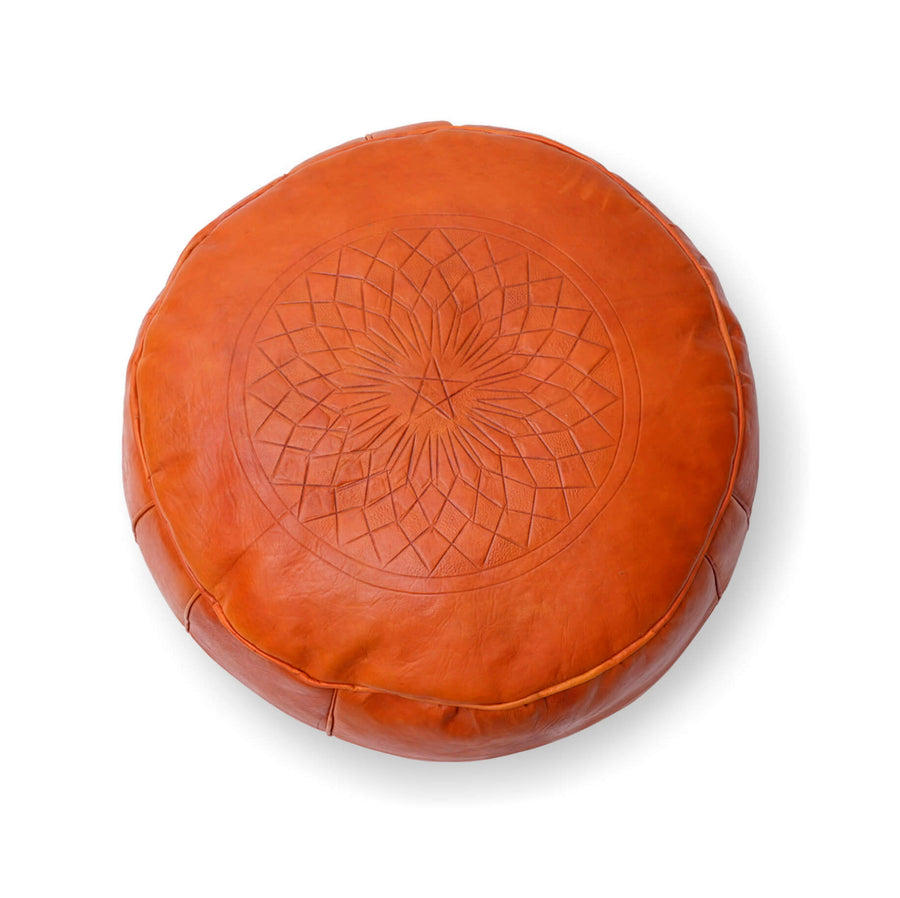 Medium Embossed Ottoman-Orange