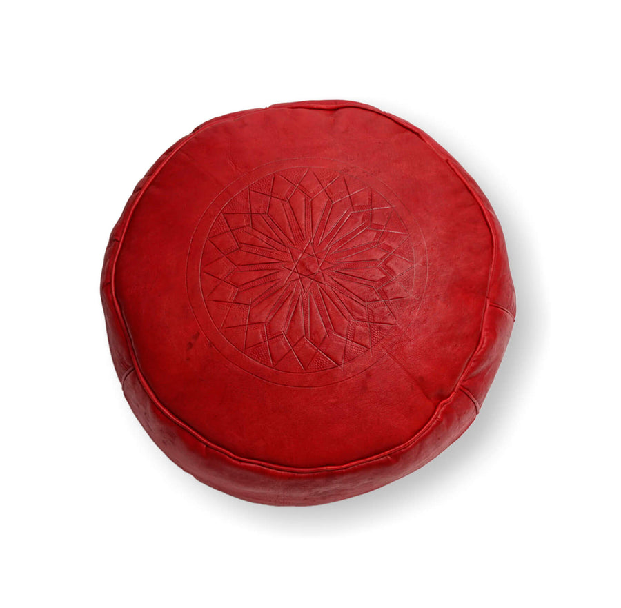 Small Embossed Ottoman-Red