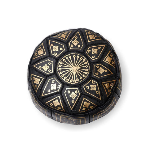 Large Star Ottoman-Black