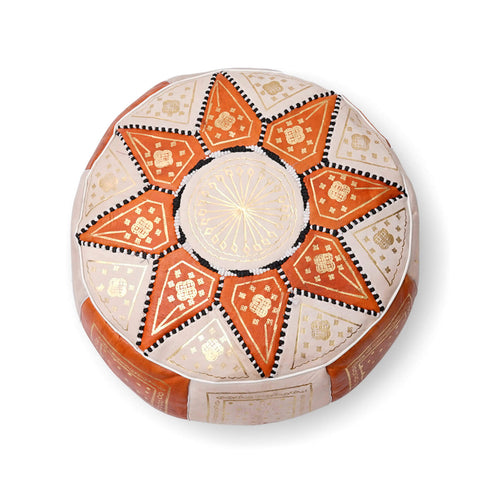 Large Star Ottoman-Orange/Cream