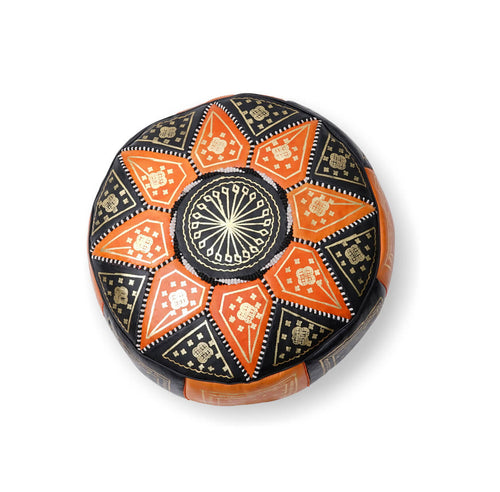 Small Star Ottoman-Black/Orange