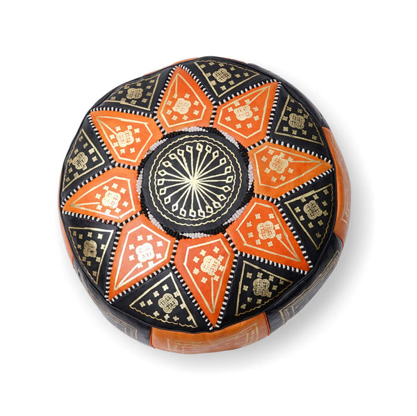Large Star Ottoman-Black/Orange