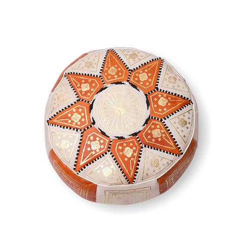 Small Star Ottoman-Orange/Cream