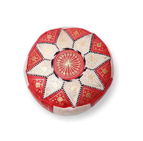 Small Star Ottoman-Red/Cream
