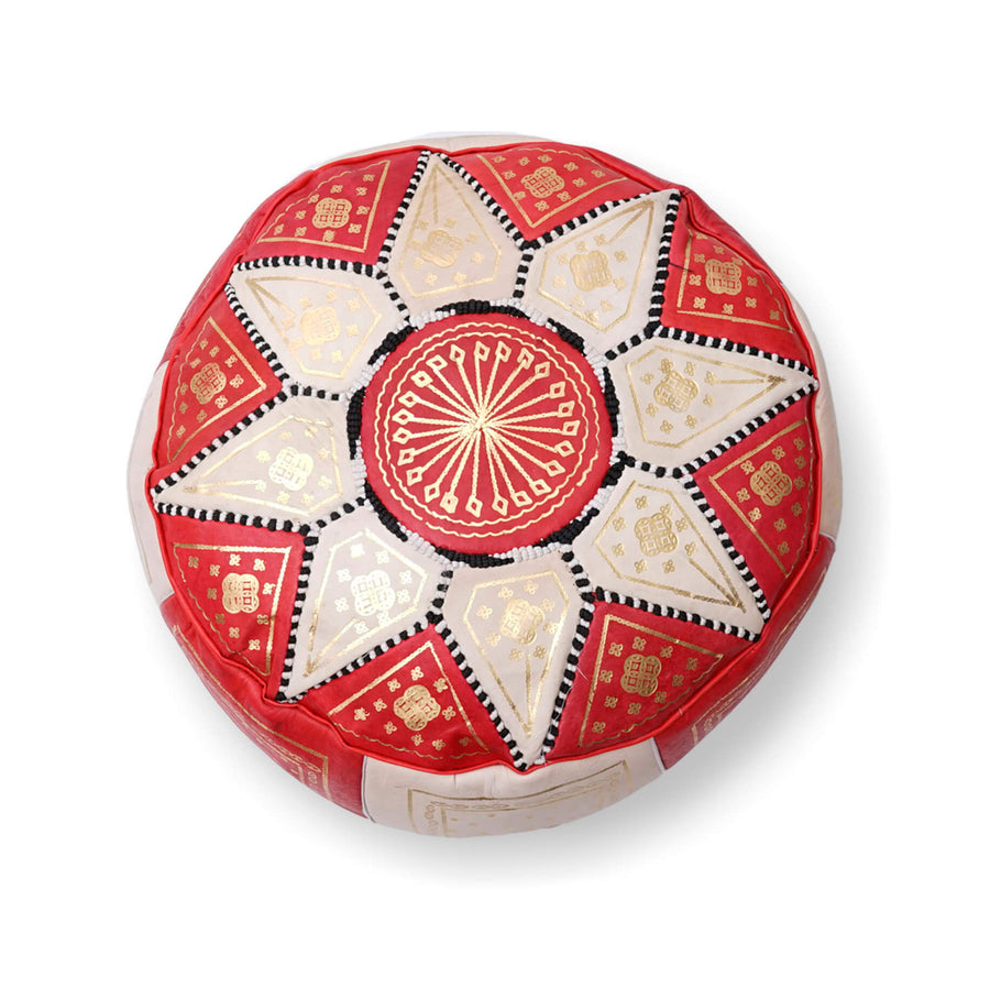 Large Star Ottoman-Red/Cream