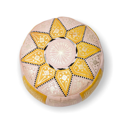 Large Star Ottoman-Yellow/Cream
