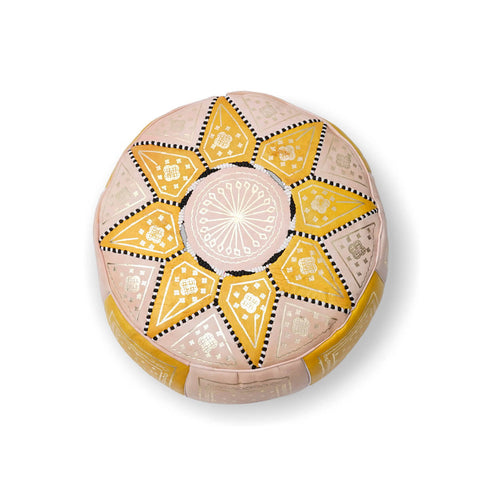 Small Star Ottoman-Yellow/Cream