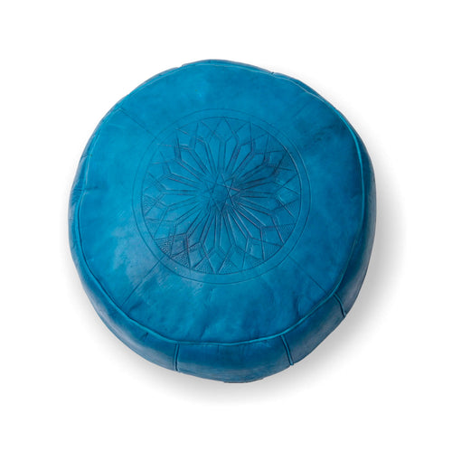 Small Embossed Ottoman-Turquoise