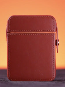Maze Leather Card Case Brown