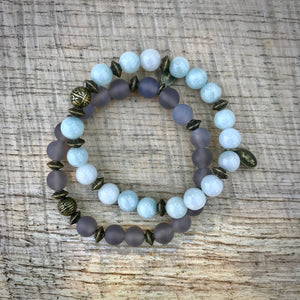 Grey Agate Stacking Bracelet