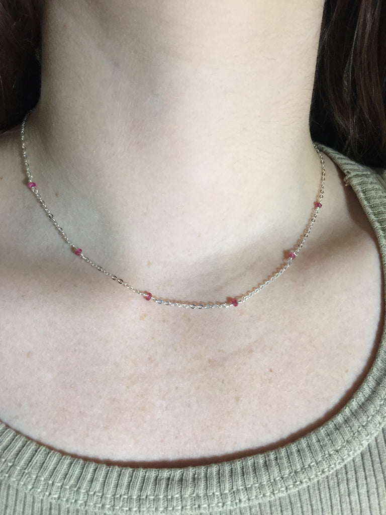 Pink Spinel & Silver Necklace