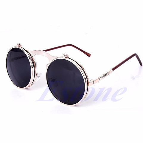 Unisex Gothic Steampunk Mens Sunglasses Coating Mirrored Sunglasses Round Circle Sun glasses Retro Vintage Gafas de Sol